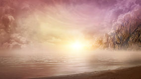 Beautiful seascape. Beautiful dreamy seascape and mountains stock images