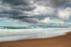 Dramatic sky and ocean before the rain stock images