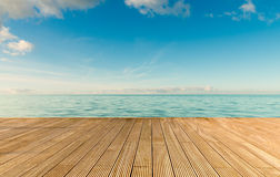 Beautiful seascape with empty wooden pier Royalty Free Stock Photo