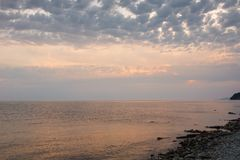 Beautiful seascape evening sea horizon and sky. Tranquil scene. Natural composition of nature. Landscape stock photos