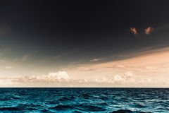 Seascape sea horizon and sky. Beautiful seascape evening sea horizon and sky. Tranquil scene. Natural composition of nature. Landscape. View from yacht stock photography