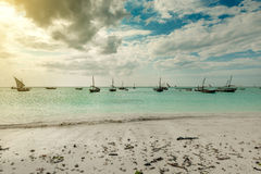 Beautiful seascape with fishing boats near african coast stock photo