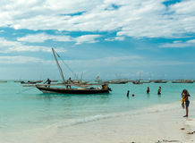 Beautiful seascape with fishing boats near african coast royalty free stock photo