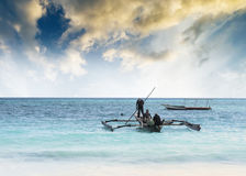 Beautiful seascape with fishing boats, Zanzibar Royalty Free Stock Images