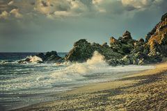 Beautiful seascape with heavy surf Royalty Free Stock Photography