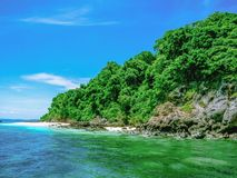 Beautiful seascape with Koh talu island rayong city Thailand. Idyllic ocean and Blue sky in vacation time,Summer concept royalty free stock photography