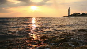 Beautiful seascape with a lighthouse stock video footage