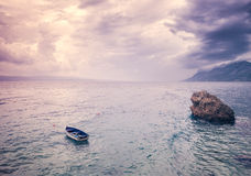 Beautiful seascape with lone boat Royalty Free Stock Photos