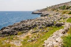 Beautiful seascape at Marina di Andrano, Salento, Apulia, Italy Royalty Free Stock Image