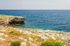 Beautiful seascape at Marina di Andrano, Salento, Apulia, Italy Stock Photo