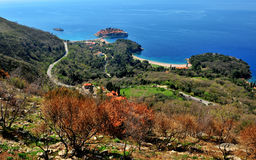 Beautiful seascape of Montenegro: top view of Sveti Stefan Stock Photo