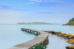 Beautiful seascape in morning time with wood bridge into sea Stock Photos