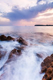 Beautiful seascape near Dubrovnik in the Adriatic sea at sunset. Stock Photos