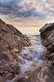 Beautiful seascape near Dubrovnik in the Adriatic sea at sunset. Royalty Free Stock Images