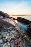 Beautiful seascape near Dubrovnik in the Adriatic sea at sunset. Royalty Free Stock Image