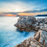 Beautiful seascape near Dubrovnik in the Adriatic sea at sunset. Stock Image