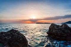Beautiful seascape near Dubrovnik in the Adriatic sea at sunset. Royalty Free Stock Photos