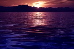Beautiful seascape ocean sunset reflexion Royalty Free Stock Image