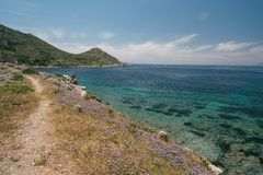 A beautiful seascape off the coast of the ancient city of Knidos. Turkey stock image