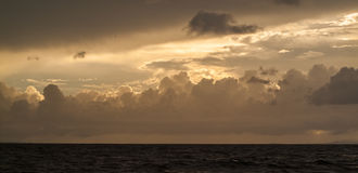 Beautiful Seascape, Orange Clouds in the Sky, Sunset Royalty Free Stock Image