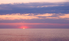 Beautiful seascape with orange warm sunrise Royalty Free Stock Photography