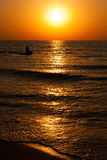 Beautiful seascape with orange warm sunrise Royalty Free Stock Photos