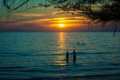 Beautiful seascape paradise view with sunset light and twilight sky at Chao Lao Beach, Chanthaburi Province, Thailand. Selective focus Royalty Free Stock Photos