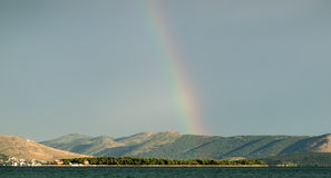 Beautiful seascape and rainbow Royalty Free Stock Photography