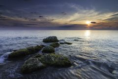 Beautiful seascape of a rock formation stock images