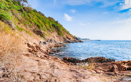 Beautiful seascape with rocks and meadow in cloudy blue sky Royalty Free Stock Photos