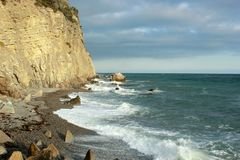 Beautiful seascape, rocks and sea, blue, turquoise water and sky stock image