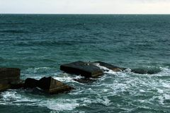 Beautiful seascape, rocks and sea, blue, turquoise water and sky royalty free stock images