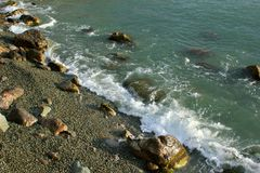 Beautiful seascape, rocks and sea, blue, turquoise water and sky stock photography