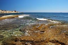 Beautiful seascape, rocky Maltese beach view. stock photo