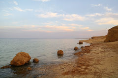Beautiful seascape. Sea and rock at the sunset Red sea, Egypt. Royalty Free Stock Photography