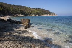 Panorama by Seccione beach. On the island of Elba, Italy. Beautiful seascape of Seccione beach. This place is located on the island of Elba, in Italy, Tuscany royalty free stock photo