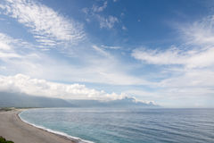 Beautiful seascape. With shoreline and mountain in the distance. Shot at Qixingtan Beach in Hualien, Taiwan, Asia royalty free stock photo