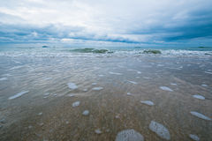 Beautiful seascape and skyscape in wide angle view Royalty Free Stock Images