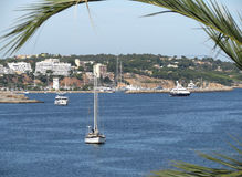 Beautiful seascape in Spain. Mallorca. Amazing view of the coast and sea with yacht Stock Photography