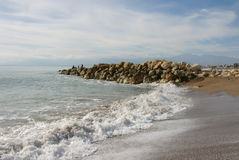 Beautiful seascape with stones and waves stock image