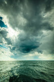 Beautiful seascape storm sea horizon and sky. Royalty Free Stock Images