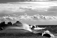 Beautiful seascape on a summer day. Calm warm summer sea, Sea surf Stock Photo