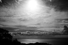 Beautiful seascape on a summer day. Grandiose clouds over the sea horizon Stock Photo