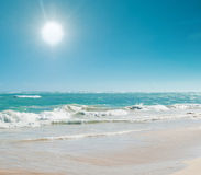 Beautiful seascape with sun and turquoise water Stock Photos