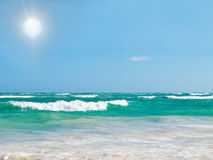Beautiful seascape with sun and turquoise water Royalty Free Stock Photo