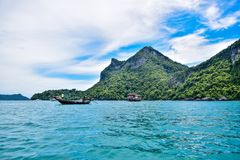 Beautiful seascape of Thailand sea and island of Samui, one of the most famous tourist vacation destination Royalty Free Stock Image