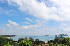 Beautiful seascape from top view. Beautiful color seascape see from top view songkhla thailand Royalty Free Stock Photos
