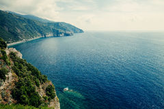 Beautiful seascape view of ligurian sea Royalty Free Stock Image