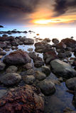 Beautiful seascape of wave and rock and  sunset Royalty Free Stock Photography