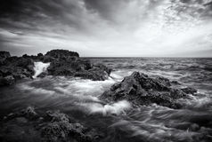Beautiful seascape with waves. Black and white. Stock Images